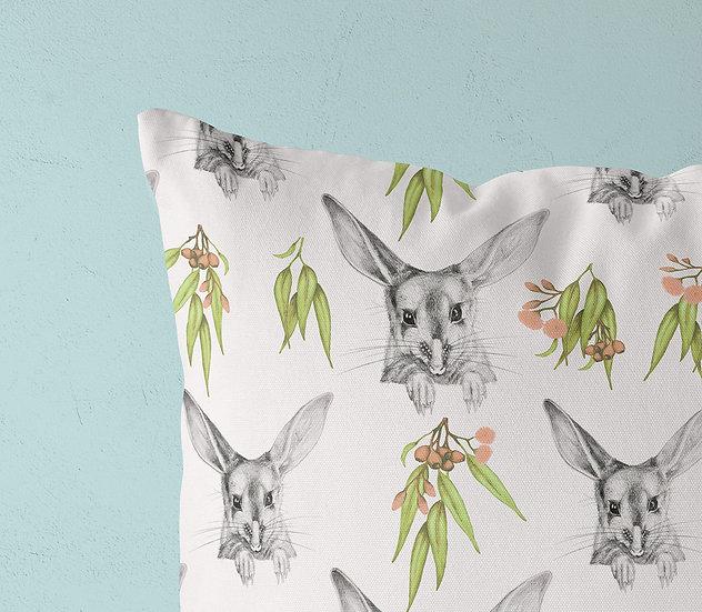Bilby and Gum Blossom Throw Pillow, Australian Fauna Cushion