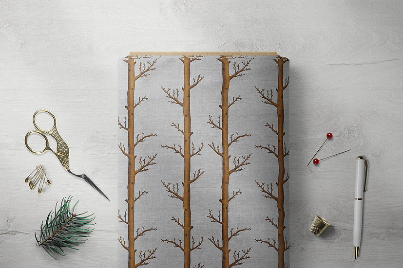 Rusty Woods Trees Fabric in Brown and Silver Grey