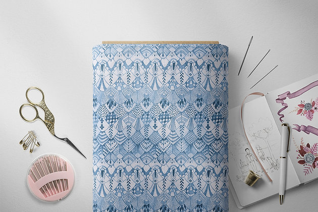 Boho Feather Fabric by the Metre, Choose Colour