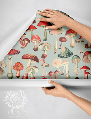 Mushies in Faded Blue Grey Drawer Liner Wallpaper, Toadstool Botanical