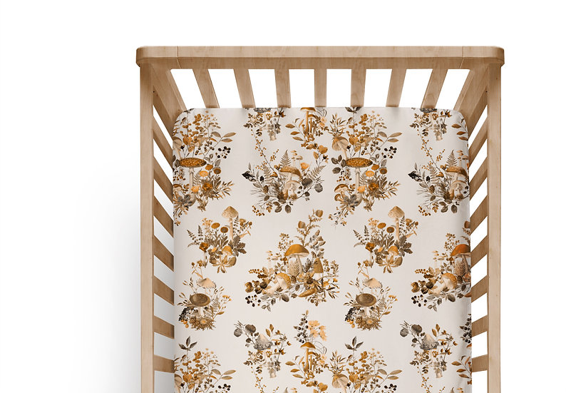 Woodland Sepia Cot or Bassinet Sheet, Printed in Aus. Made to Order