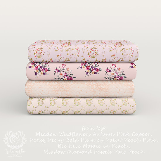 Wildflower Meadow Fabric Pink Peach Set 2, Choose Design, Printed by the Metre