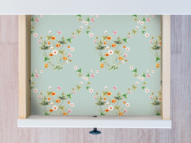 Shabby Chic Meadow Floral Drawer Liner Paper or Wallpaper