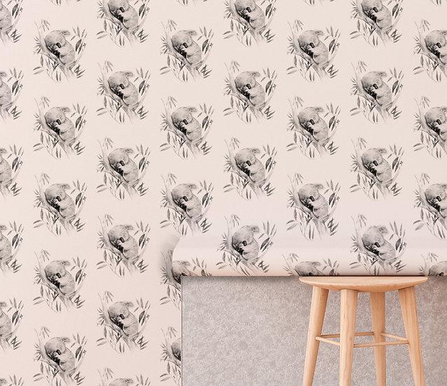 Sleepy Koala Drawer Liner Paper, Nursery Wallpaper - Monochrome or Vanilla