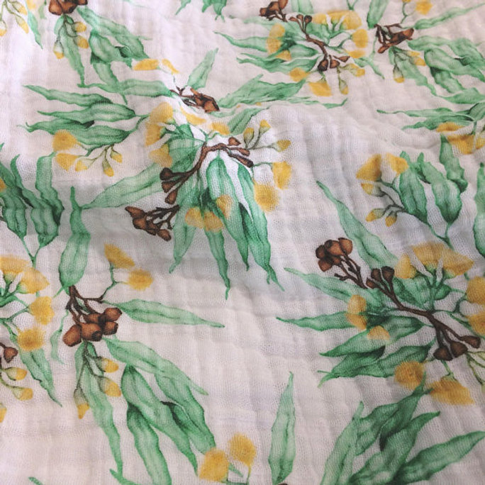 Organic Cotton Muslin Baby Blanket - Eucalyptus Yellow Blossoms