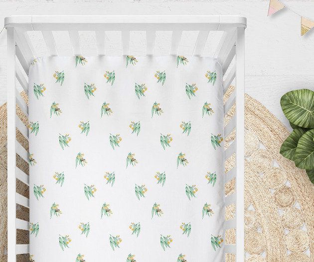 Yellow Gum Blossom Cot or Bassinet Sheet, Printed in Aus. Made to Order