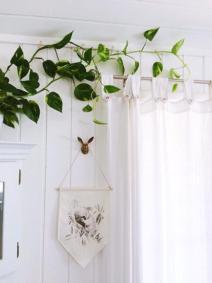 Sleepy Koala Wall Banner, Australiana nursery, linen wall hanging