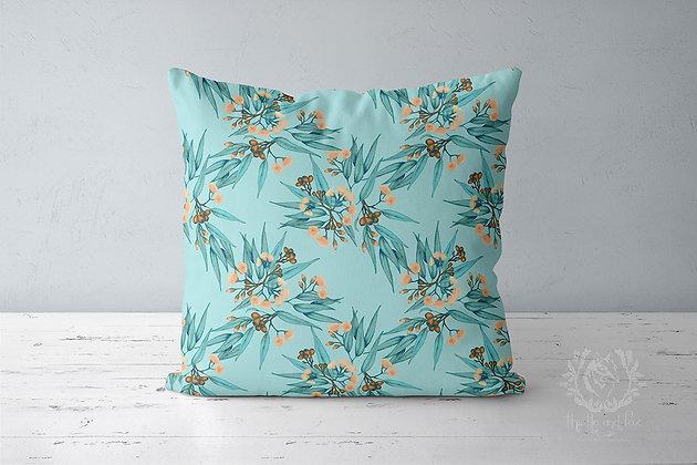 Eucalyptus Throw Pillow, Watercolour Australian Botanical Cushion