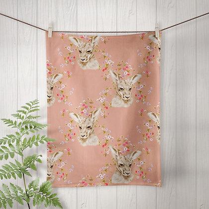 Linen Tea Towel, Joey Meadow in Ochre, 100% Australian Handmade