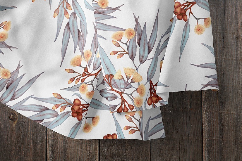 Eucalyptus Gumnuts Fabric in Rust, Silver, Golden Blossoms