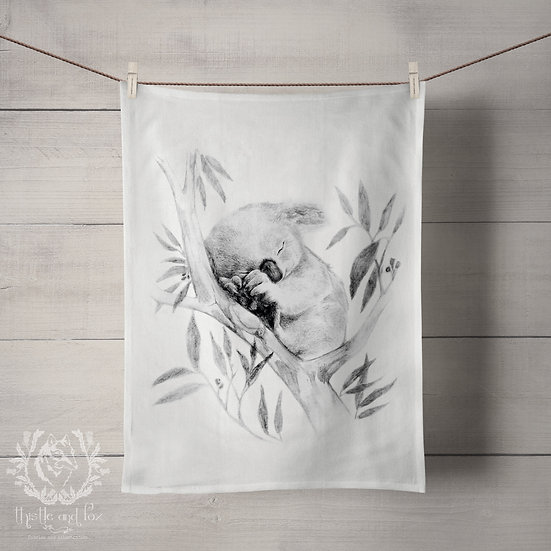 Linen Tea Towels, Sleepy Koala. Custom Printed in Australia. Handmade