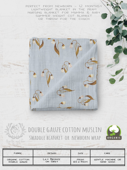 Organic Cotton Muslin Baby Blanket | Lily Bronze Grey