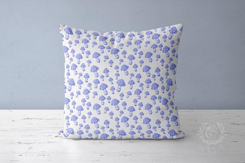 Mushroom Lilac Linen Throw Pillow, Purple Woodland Cushion Cover