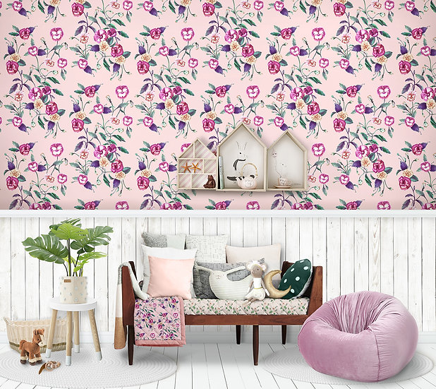 Wallpaper Pansy Peony Watercolour Floral in Ballerina Pink