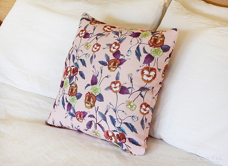 Pansy Garden Throw Pillow, Bold Floral Cushion Cover