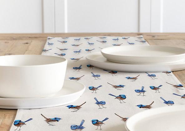 Table Runner, Blue Wrens. Linen Cotton 100% Australian Handmade