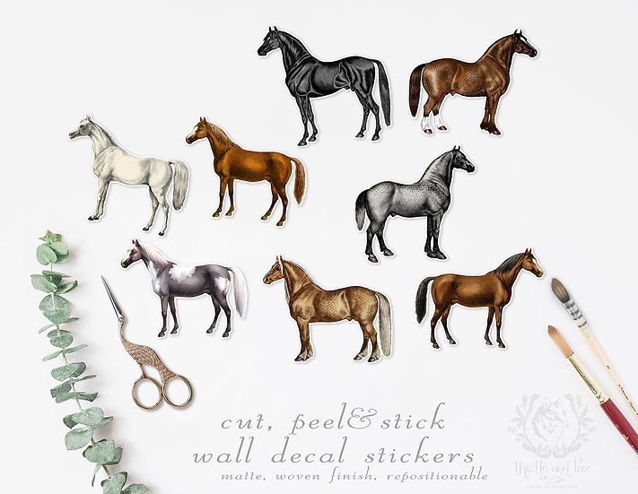 Vintage Horses Wall Sticker Set, Repositionable Peel and Stick Wall Decals