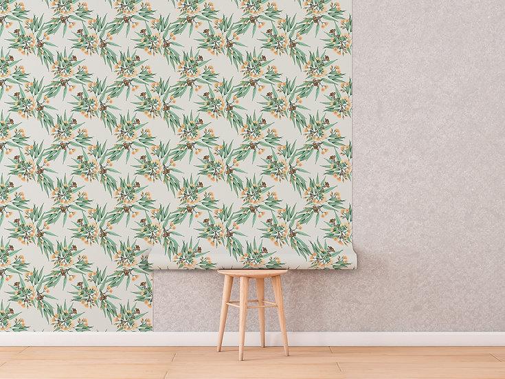 Australian Botanical Drawer Liner Paper, Nursery Wallpaper - Eucalyptus Vintage