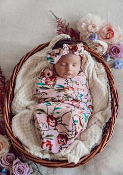Pansy Heart Baby Wrap & TopKnot Bow
