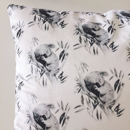 Sleepy Koala Velvet Throw Pillow, Australian Fauna Cushion 16 inch