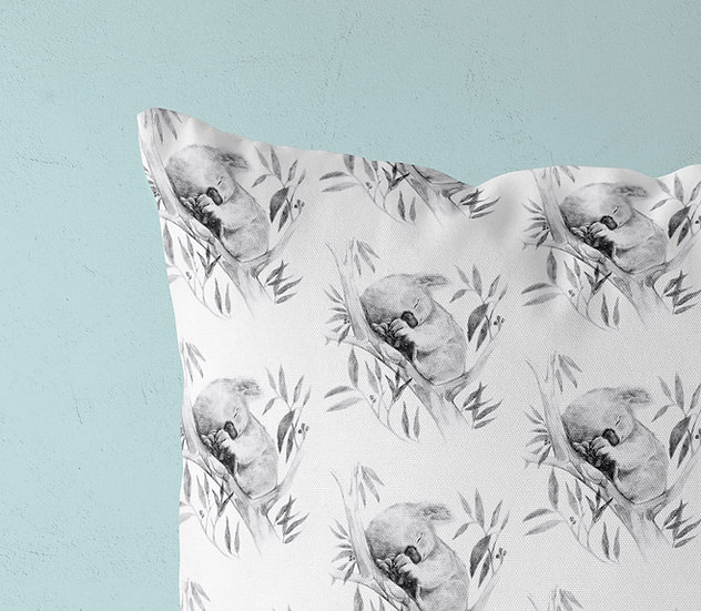Sleepy Koala Linen Throw Pillow, Australian Fauna Cushion for Koala Conservation