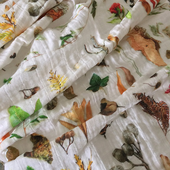 Australian Bushland Muslin Baby Blanket, Organic, Made to Order