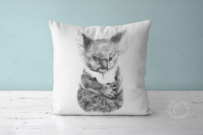 Baby Koala Linen Throw Pillow, Australian Fauna Cushion