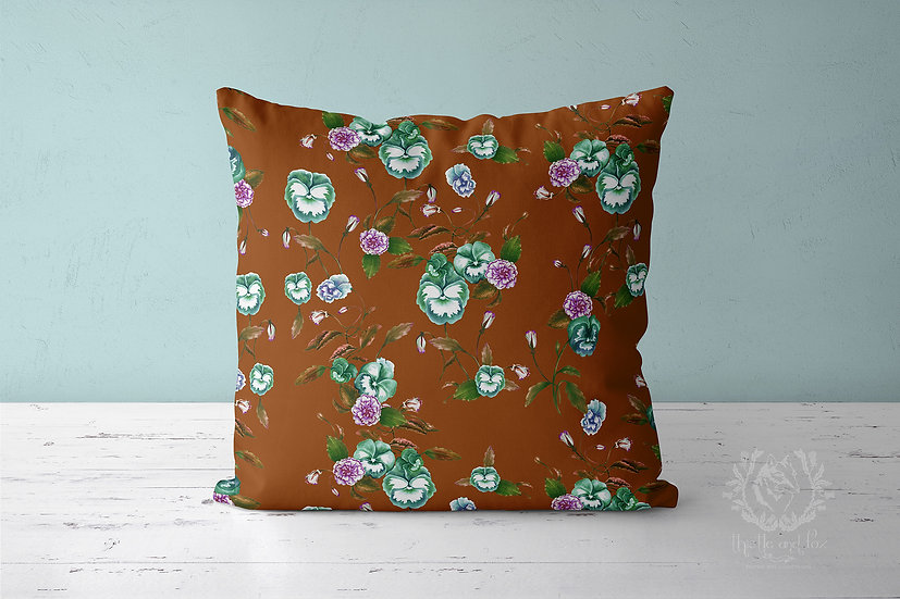 Pansy Garden Chestnut Throw Pillow, Watercolour Floral Cushion