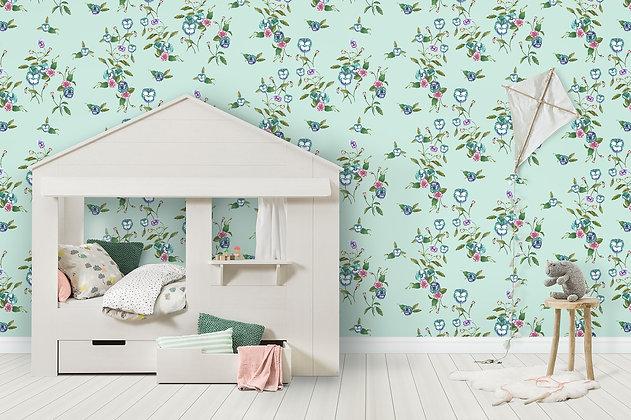 Wallpaper Pansy Vine Watercolour Floral in Seafoam Green