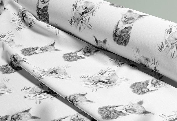 Baby Koalas Australian Animal Printed Cotton Fabric by the Metre