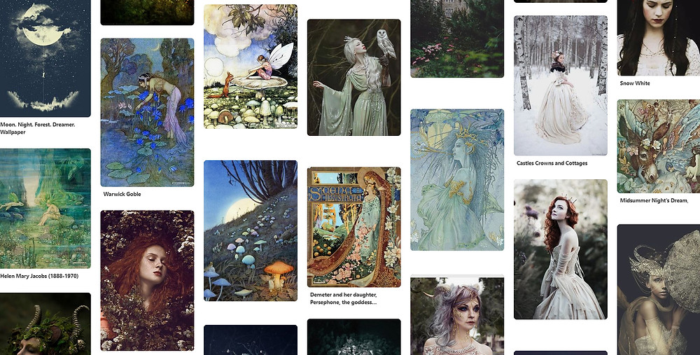 Inspiration mood board for fairy tale illustration