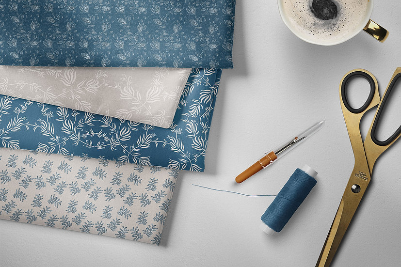 Fill 2 Yards, 16 designs, Neutrals & Blue Collection | Fabric Printed in USA