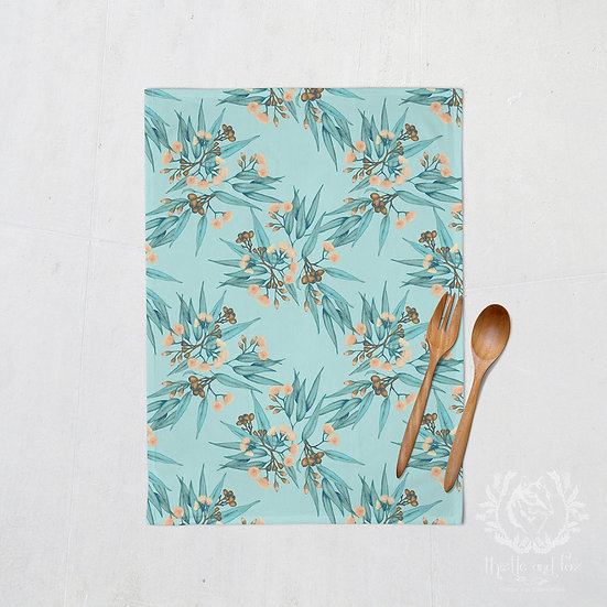 Linen Tea Towels, Eucalyptus Blue Peach Copper, 100% Australian Handmade
