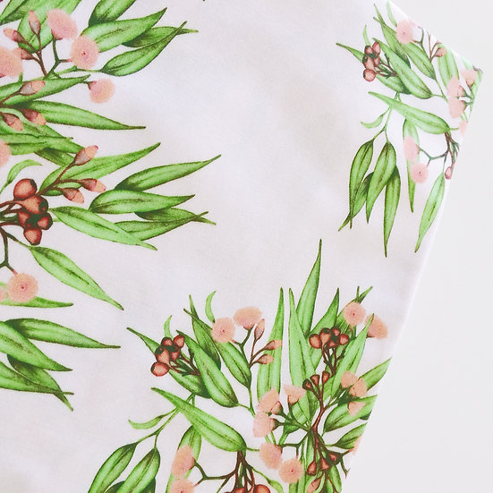 Eucalyptus Ditsy Fabric, Bright Green Leaves & Peach Blossoms by the metre