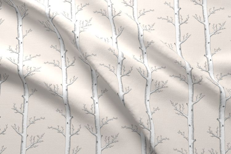 Ivory Trees Fabric by the Metre, Winter Birch Forest Neutral
