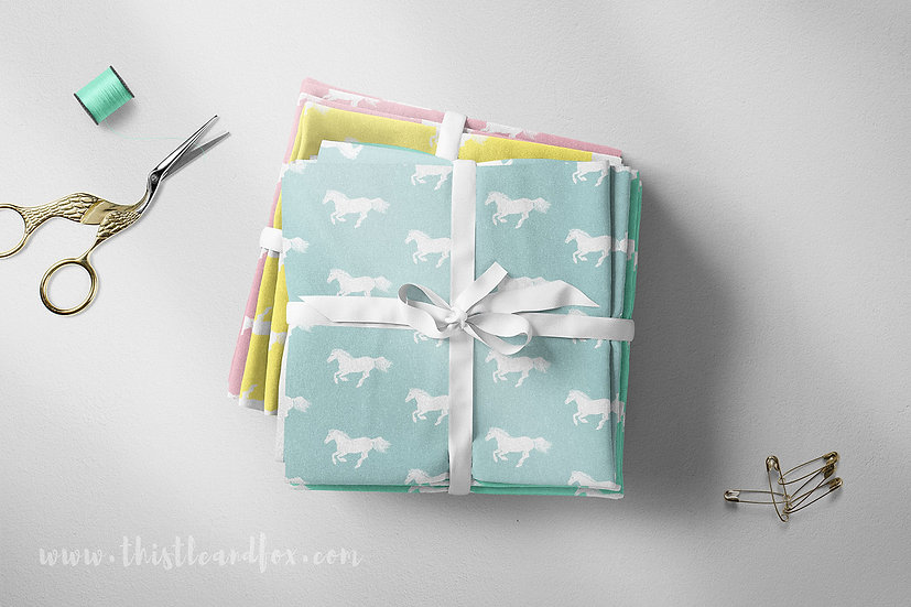 White Pony Pastel Fabric, Choose Colour, Choose Print Direction