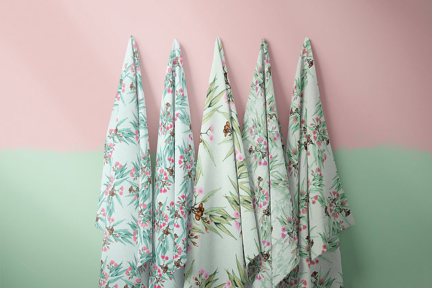 Pink Gum Blossom Eucalypt Fabric by the Metre, Printed in Australia