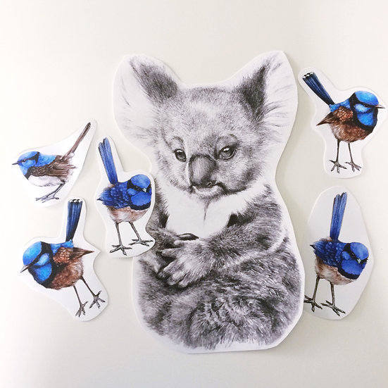 Baby Koala & Wrens Wall Sticker Set, Repositionable