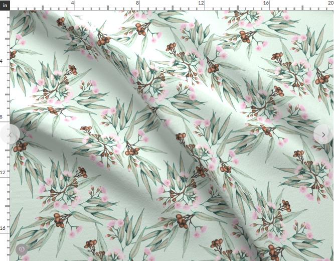 Flowering Gum Botanical Fabric by the Metre, Printed in Australia