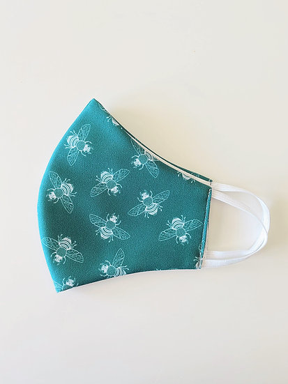 Fabric Face Mask, Ditsy Bees on Lotus Green, Handmade in Australia
