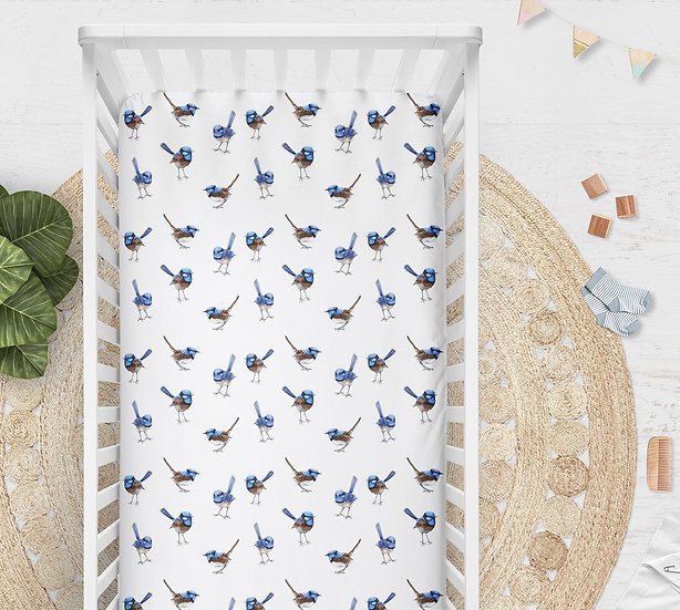 Blue Wren Cot or Bassinet Sheet, Printed in Aus. Made to Order