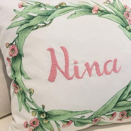 Embroidered, Personalized Cushion Eucalyptus Botanical Throw Pillow