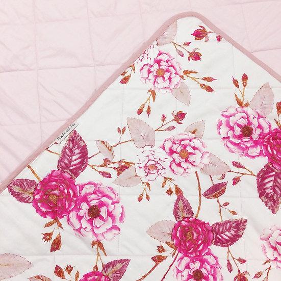 Briar Roses Cot Quilt Pink Plum Vanilla Cotton Sateen Heirloom Quilt
