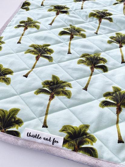 Palm Tree Play Mat, Large 140cm Square, Linen Cotton