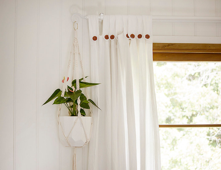 Large Macrame Plant Hanger - Azra, Natural Cotton Rope Hanging Planter