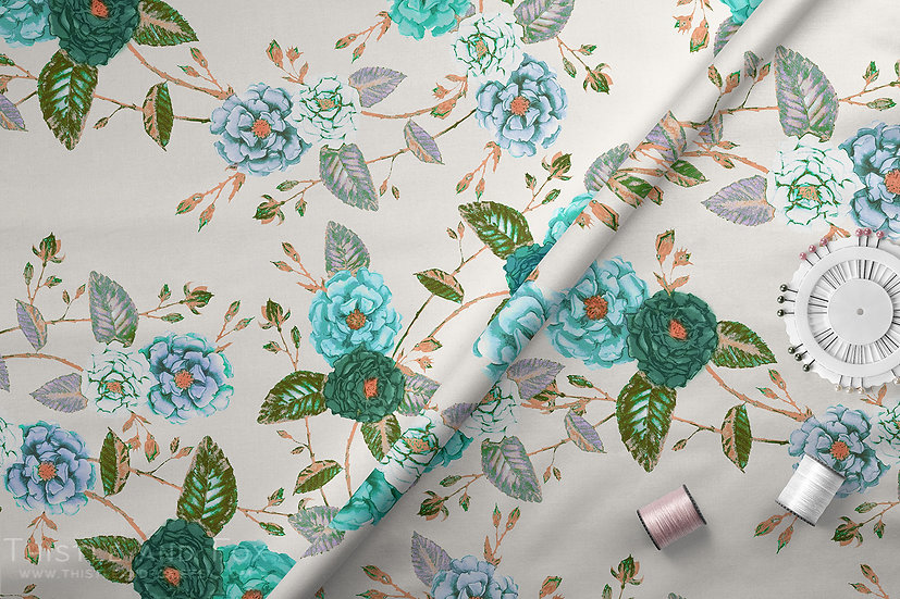 Briar Roses Floral Fabric per metre, Turquoise Teal and Vanilla