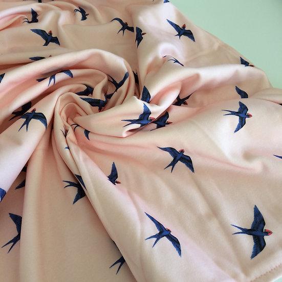 Organic Knit Lovey Newborn Bassinet Blanket, Swallow Birds Blush Pink