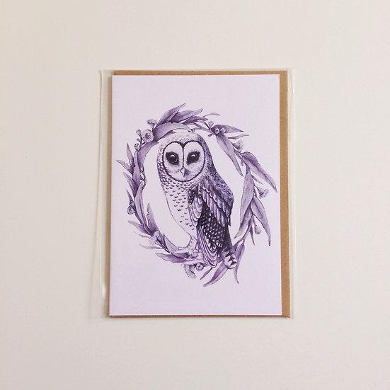 Greeting Card   Sooty Owl. Indigo Ink or Grey Linen