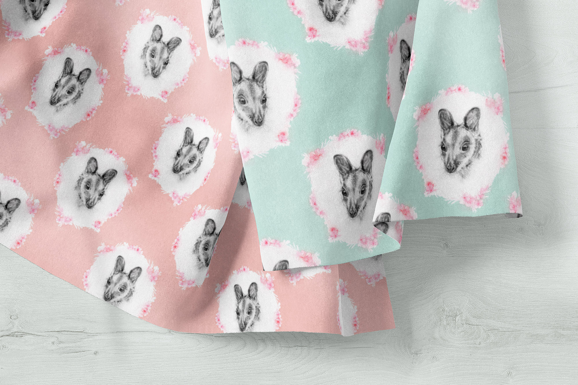 Cute Wallaby Pastel Fabric By The Metre Printed In Australia Thistle And Fox Fabrics
