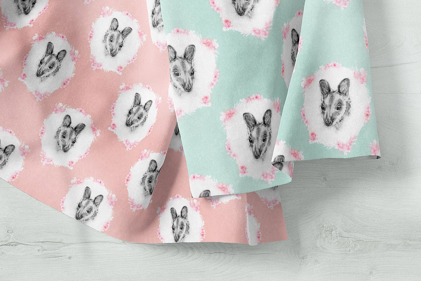 Cute Wallaby Pastel Fabric by the Metre, Printed in Australia